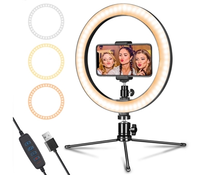 10 Inch Desktop Ring Light with Tripod & Phone Holder